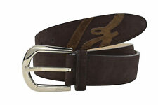 Brioni Men's Brown Suede Leather Silver Buckle Belt Size 100 (100)