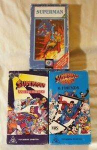 Superman Animated VHS Vintage Bundle (Lot of 3): Cardboard Case Classics
