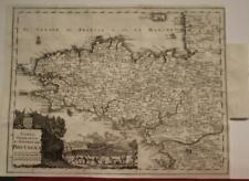 BRITTANY BRETAGNE FRANCE1758 ISAAK TIRION ANTIQUE ORIGINAL COPPER ENGRAVED MAP
