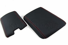 Armrest Cover for 04-08 Mazda RX8 Leather Center Console Lid w/Red Stitch