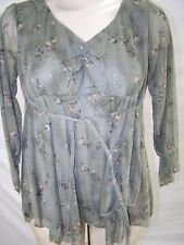 Planet Motherhood Green Floral 3/4 Sleeve Maternity Top Womens Size Large 12 14