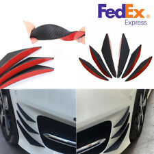 US Stock 6x Carbon Fiber Color Car Front Bumper Fins Spoiler Wing Lip Splitter