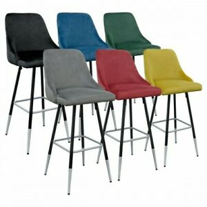 Fiona Quilted & Buttoned Back Designer Bar Stool - Black/Brushed Silver Legs