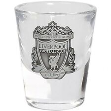 More details for liverpool football club official single shot glass brushed silver crest badge