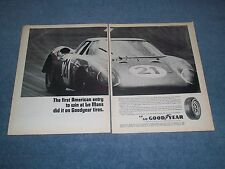 "1965 Goodyear Tires Vintage 2pg Ad ""First American Entry to Win at Le Mans..."""