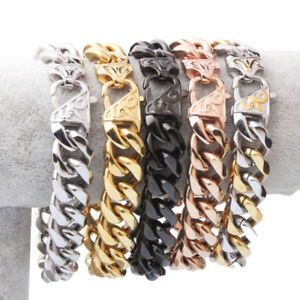 Heavy 12mm 15mm Mens Stainless Steel Silver Gold Black Curb Cuban Chain Bracelet