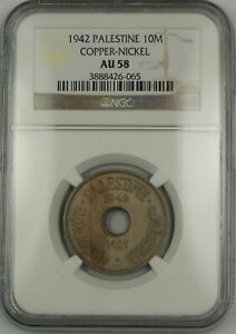 1942 Palestine 10M Ten Mils Copper-Nickel Coin NGC AU-58