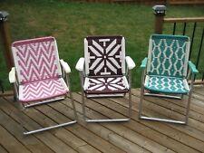 3 Vintage Mid Century Macrame Folding Aluminum Lawn Chairs