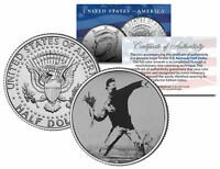 BANKSY * FLOWER THROWER * Colorized JFK Half Dollar U.S. Coin Street Art BOMBER