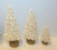 3 Mini Flocked Off White Ivory Trees Sisal Bottle Brush Christmas Putz Village