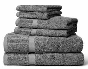 100% Certified Egyptian Cotton - 700 Gsm - 6 Pcs Towel Set (2Pcs Washcloth, 2Pcs