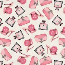Fifth Avenue With Glitter Pink Perfume Purses Pumps Cotton Fabric Fat Quarter