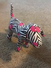 "Victoria's Secret Pink Plush Stuffed 8"" Animal Dog Zebra Stripe pink dots"