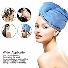 2PCS Rapid Fast Drying Hair Absorbent Towel Turban Wrap Soft Shower Bath Cap Hat