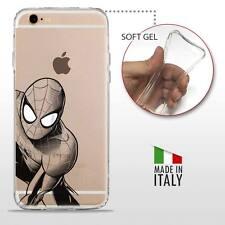 iPhone 6Plus 6SPlus COVER GEL PROTETTIVA TRASPARENTE DC MARVEL BLACK Spider Man