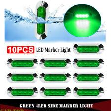 10x 4 LED Green Clearance Side Marker Light 12V-24V Truck Trailer Van Waterproof