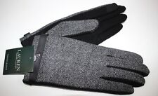 NWT RALPH LAUREN XL Women's Black Herringbone Wool/Cashmere Leather TOUCH Glove
