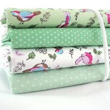FQ Bundle - Cute Birdie Birds - Green & White x 4 - Fat Quarter - Cotton Fabric