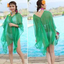 Women's Beach Bikini Green Kimono Cover Up Chiffon Wrap Scarf Beaded Shirt Dress