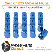 Blue Wheel Nuts (20) 12x1.5 Tapered 34mm For Jaguar F-Type 13-20