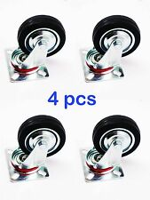 "x4 pack swivel caster wheels 3"" inch rubber base with top plate & bearing heavy"
