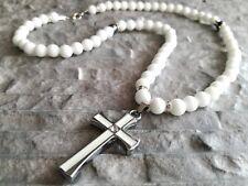 Damenkette Halbedelstein Onyx glanz perlen Kreuz Hämatit Halskette Rosenkranz