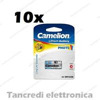 10X PILA BATTERIA CR123A DL123A EL123A CAMELION CR 123 PILE PHOTO LITIO DIGITALE