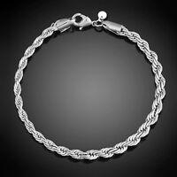 """Bracelets argent mailles """"Corde"""" - 4 mm x 20 cm - Env.de France immédiat"""