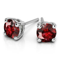 4.00 Ct Natural Round Cut Solitaire Ruby Earrings 14K Solid White Gold Studs