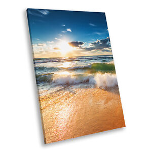 Blue Green Yellow Beach Portrait Scenic Canvas Wall Art Large Picture Print