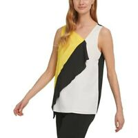 Dkny Colorblocked Asymmetrical Ruffle-Front Top Colorblock L