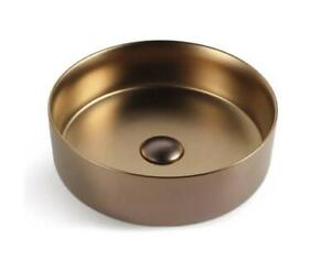 Matte Rose Gold copper Round 360 mm Dia on top counter basin porcelain sink