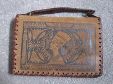 Vintage Deco Egyptian Suede Tooled Leather Bag Tutankhamun