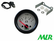 52MM BATTERY VOLT GAUGE VOLTS WHITE FACE TRACK RACE KIT CAR CLASSIC CAR MLR.AZI