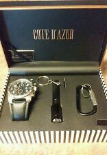 Men's Gift Boxed Set Of Watch, Mini-Flashlight, Keyholder ! Cote D'Azur NWT!