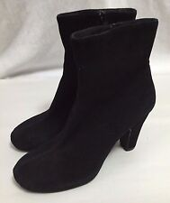 Cordani Calzature Ankle Boots Women's 7.5 Black Leather Suede Zip Heels Shoes