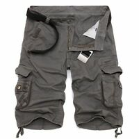 Casual Mens Cotton Summer Army Combat Camo Cargo Shorts Pants Trousers 3/4 Khaki