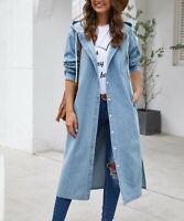 Suvimuga Women Size XL Light Blue Hooded Longline Denim Jacket Button Down NEW