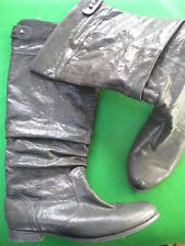 LADIES  EOS BLACK LEATHER KNEE HIGH PULL ON FLAT  HEEL BOOTS  SIZE 7 /38
