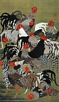 Roosters by Japanese Artist Ito Jakuchu. Oriental Reproduction Print on Canvas