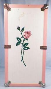 Vintage Doll Trunk Case Sweetheart Rose on Wood Pink Plastic Edges Silvertone