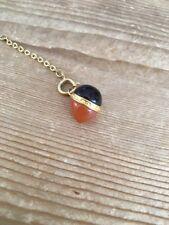 Joan Rivers Egg Charm Necklace / Bracelet Extender EUC BLACK & AMBER CABOCHON