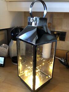 Pewter Lantern With Warm Led Lights