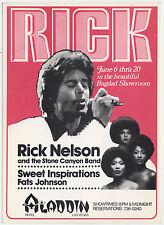 Rick Nelson Stone Canyon Band Sweet Inspirations 1979 Las Vegas Concert Handbill