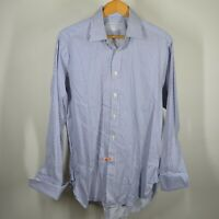 Charles Tyrwhitt 16 - 34 Long Sleeve Button Front Shirt Blue White Stripes Frenc