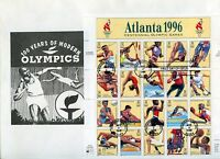 UNITED STATES 1996 ATLANTA  OLYMPIC GAMES SHEET ON   FIRST DAY COVER