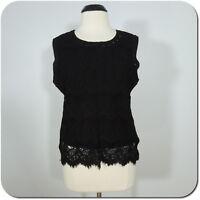 BAR III Women's Black Lace Sleeveless Top, Lined, size XL