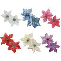 10pcs Glitter Artificial Flowers Christmas Tree Ornaments Xmas Wedding Decor NEW