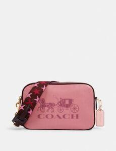 NWT Coach Jes Color Block Rose Multi Leather Double Zip Crossbody Bag 3041 $325