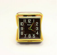 Bulova Winding Travel Alarm Clock Brown and Gold Metal Clam Shell Case